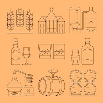 Set di icone linea whisky. simboli di contorno di processo e industria
