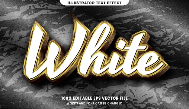 Effetto di stile di testo modificabile 3d bianco