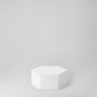 Podio bianco esagono 3d con prospettiva isolata su sfondo grigio. mockup del podio del prodotto a forma esagonale, pilastro, palcoscenico vuoto del museo o piedistallo. illustrazione di vettore di forma geometrica di base 3d.