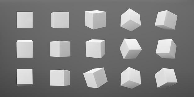 Cubi di modellazione 3d bianchi impostati con prospettiva isolata su sfondo scuro. rendi una scatola 3d rotante in prospettiva con luci e ombre. icona di vettore realistico.