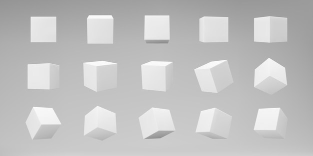 Cubi di modellazione 3d bianchi impostati con prospettiva isolata su sfondo grigio. rendi una scatola 3d rotante in prospettiva con luci e ombre. icona di vettore realistico.