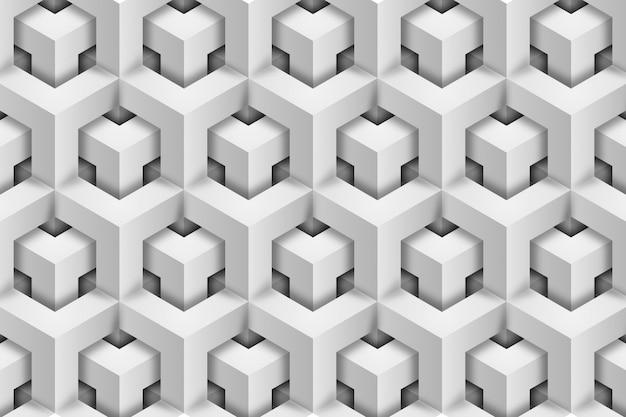 Modello 3d bianco. sfondo geometrico. illusione ottica.