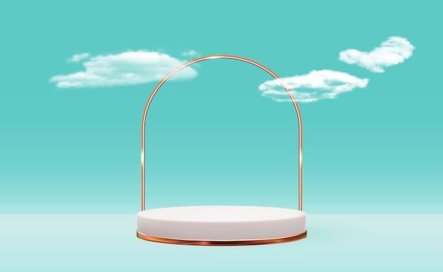 Sfondo bianco piedistallo 3d con cornice in vetro dorato su nuvoloso blu per la rivista di moda di presentazione del prodotto cosmetico