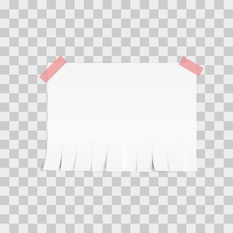 Modello di carta strappo annuncio bianco su sfondo bianco