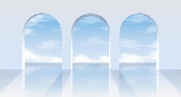 Archi bianchi con vista sull'azzurro del cielo.