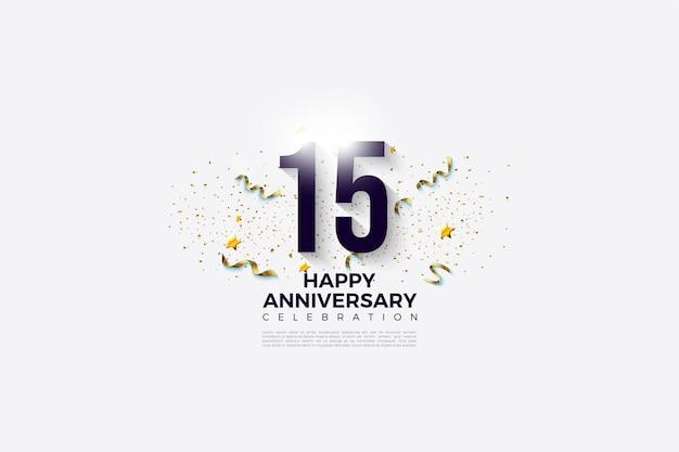 Sfondo bianco per il 15 ° anniversario con numeri 3d.