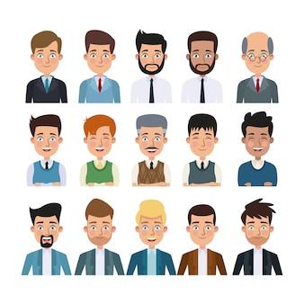 Sfondo bianco del corpo colorato set di caratteri multipli uomini per il business