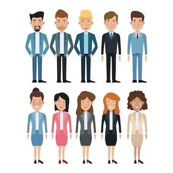 Insieme completo del corpo del fondo bianco di caratteri multipli degli uomini e delle donne per l'affare