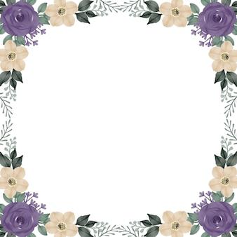 Sfondo bianco con arrangiamento di rose viola e bordo di fiori bianchi per biglietto di auguri