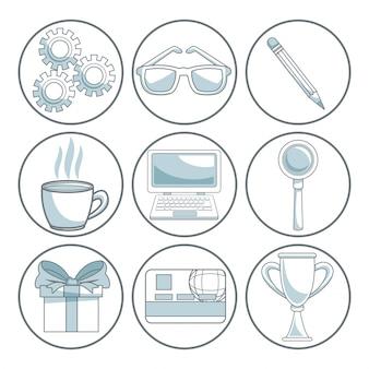 Sfondo bianco con sezioni di colore della cornice circolare di elementi di marketing digitale