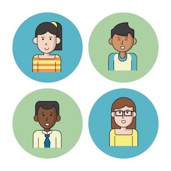 Sfondo bianco con cerchi colorati con icone di persone