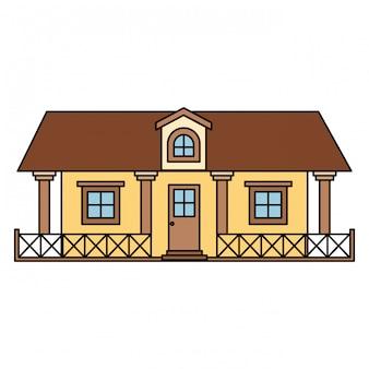 Sfondo bianco con casa di campagna colorata con ringhiera e soffitta