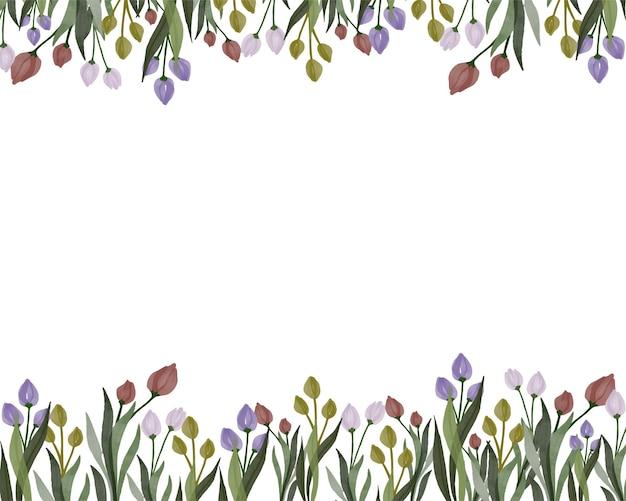Sfondo bianco con colorati di tulipani