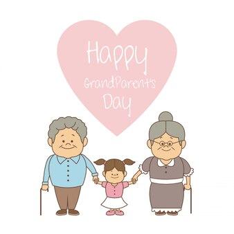 Fondo bianco con la mano della tenuta delle coppie un giorno felice dei nonni della ragazza