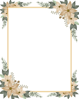 Sfondo bianco con cornice acquerello floreale crema per biglietto di auguri