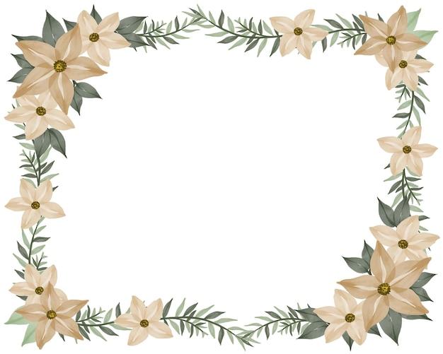 Fondo bianco con bordo crema di fiori e foglie