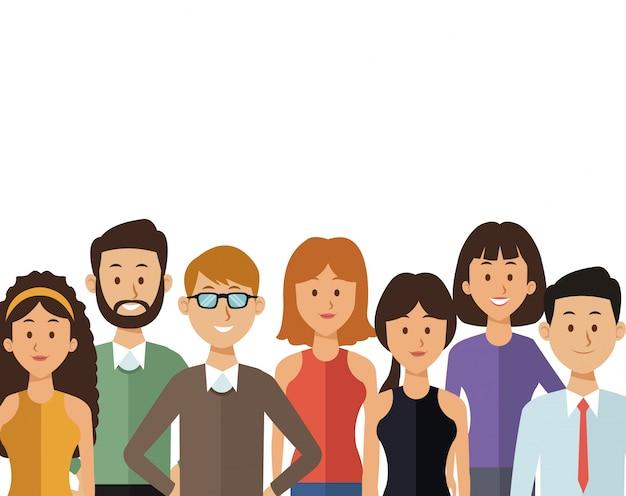 Sfondo bianco con persone gruppo metà corpo del mondo