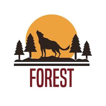 Sfondo bianco con logo foresta con silhouette di lupo