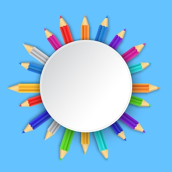Sfondo bianco con matite multicolori. illustrazione