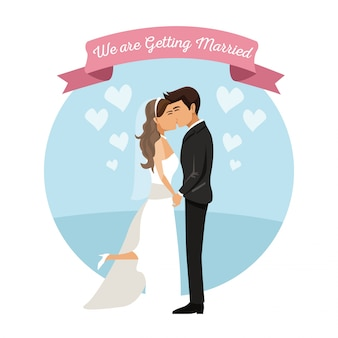 Sfondo bianco con la coppia di sposi baciare