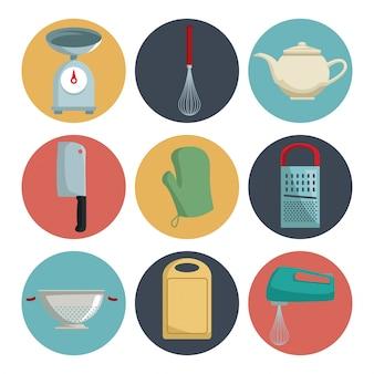 Fondo bianco con colore stabilito della cucina differente degli elementi delle icone