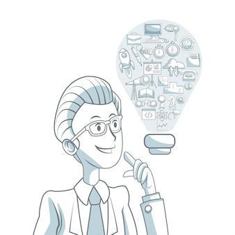 Il fondo bianco con ombreggiatura delle sezioni di colore della siluetta dell'uomo esecutivo e la soluzione di forma della lampadina con sviluppo di affari delle icone