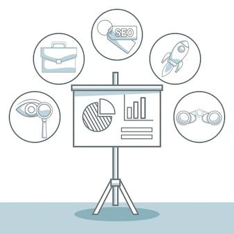 Sfondo bianco con ombreggiatura di sezioni di colore sagoma di scheda di presentazione con lo sviluppo del business di statistiche e icone