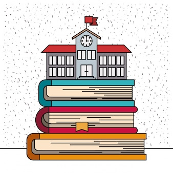 Sfondo bianco con scintillii di buildinf scuola sulla pila di libri