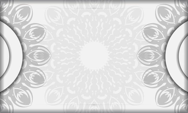 Modello di banner bianco con ornamenti mandala e posto per il tuo logo. sfondo di design con motivi neri.