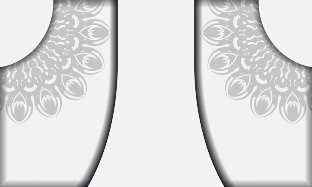 Modello di banner bianco con ornamenti mandala e posto per il tuo logo e testo. modello di sfondo design stampabile con motivi neri.