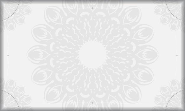 Modello di banner bianco con ornamenti mandala e posto per il testo. sfondo di design pronto per la stampa con ornamenti neri.