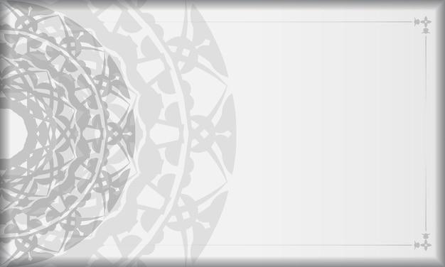 Banner bianco con ornamenti mandala neri e posto per il tuo logo. modello di sfondo stampabile con motivi greci.