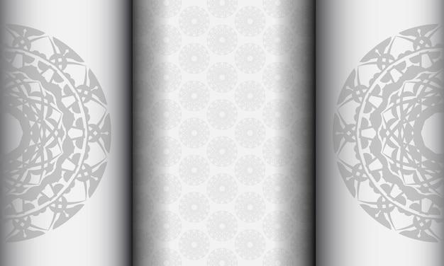 Banner bianco con ornamenti mandala neri e posto sotto il testo. sfondo di design pronto per la stampa con motivi greci.