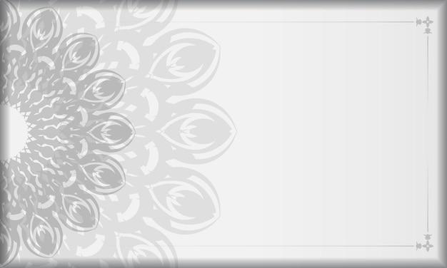 Banner bianco con ornamenti mandala e posto per il tuo logo. modello di sfondo design stampabile con motivi neri.