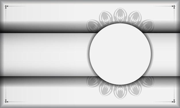 Banner bianco con ornamenti mandala e posto per il tuo testo e logo. sfondo di design con motivi neri.