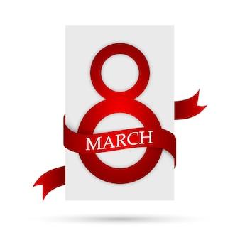 Bandiera bianca con nastro rosso per l'8 marzo. 8 marzo, cartolina d'auguri di giorno della donna isolata.