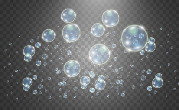 Belle bolle bianche su uno sfondo trasparente illustrazione. bolle di sapone.