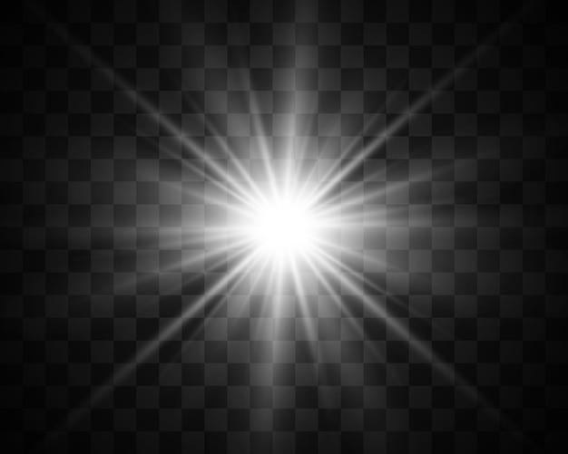 La bella luce bianca esplode con un'esplosione trasparente. illustrazione vettoriale, brillante per un effetto perfetto con le scintille. stella luminosa. lucentezza trasparente del gradiente di brillantezza, flash luminoso