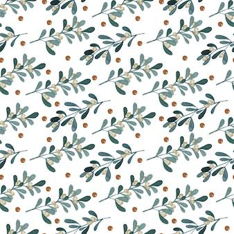 Bacche bianche rami polkadot seamless pattern acquerello su sfondo bianco Vettore Premium