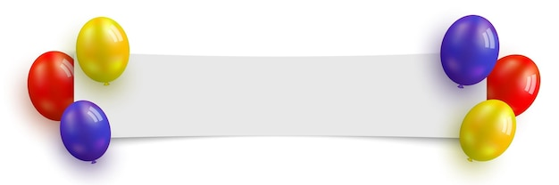 Banner di compleanno bianco con palloncini e illustrazione vettoriale