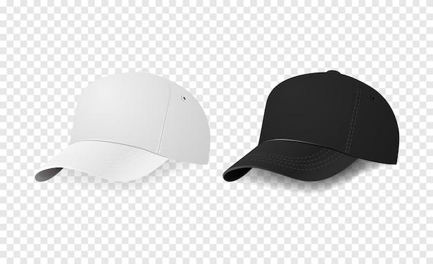 Insieme dell'icona del berretto da baseball bianco e nero. primo piano del modello di progettazione nel vettore eps10. mock-up per il branding e pubblicità isolato su sfondo trasparente.