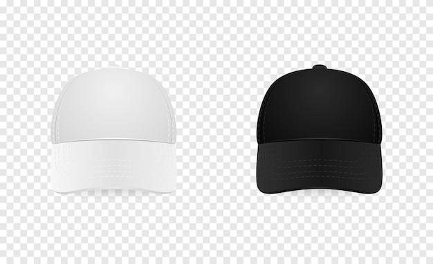 Insieme dell'icona del berretto da baseball bianco e nero. vista frontale. primo piano del modello di progettazione nel vettore eps10. mock-up per il branding e pubblicità isolato su sfondo trasparente.