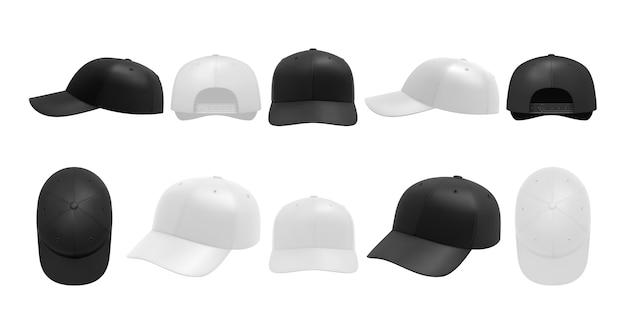 Set di tappi bianchi e neri. collezione di copricapi da baseball sportivi disegnati in stile realismo Vettore Premium