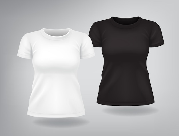 Magliette da donna casual bianche e nere con maniche corte mock up