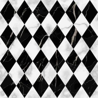 Modello senza cuciture in marmo bianco e nero a quadri ripeti la superficie di marmorizzazione del rombo diagonale