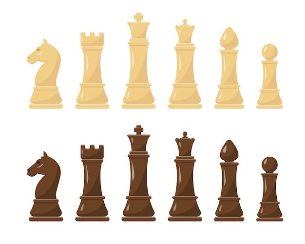 Figure di scacchi bianche e nere impostare illustrazione. collezione di re, regina, alfiere, cavaliere, torre e pedone.