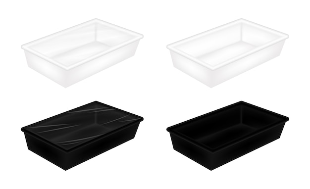Mockup di imballaggio in polistirolo bianco e nero