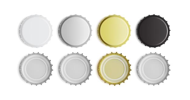 Vista superiore e inferiore del tappo di bottiglia bianco, nero, argento e oro isolato su priorità bassa bianca