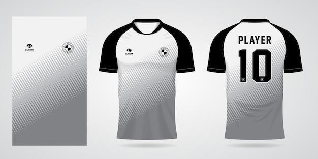 Modello di maglia sportiva nera bianca per le divise della squadra e il design della maglietta da calcio