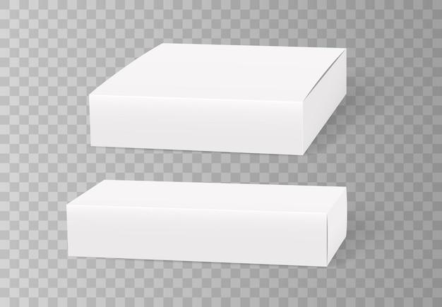 Scatole di cartone in bianco bianco.